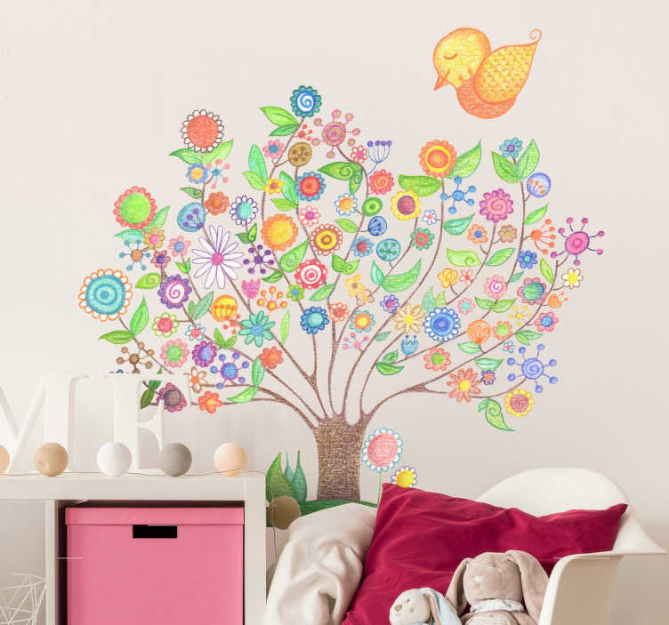 TenStickers. Kids Spring Tree Wall Sticker. Kids Wall Stickers - Colourful illustration of a beautiful spring tree by Bonita Del Norte. Gorgeous vibrant design of a tree with its branches covered in flowers and a cute yellow bird. Ideal for decorating areas for children. Available in various sizes.