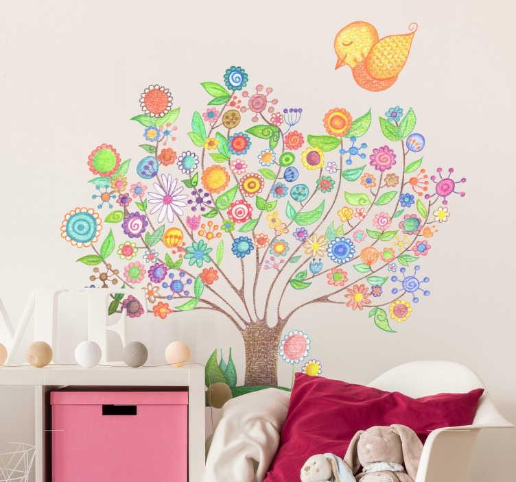 TENSTICKERS. 子供たちの春の壁のステッカー. 子供の壁のステッカー -  bonita del norteによる美しい春の木のカラフルなイラスト。花で覆われた枝とかわいい黄色い鳥の木が豪華で活気にあふれています。子供のためのエリアを装飾するのに理想的です。さまざまなサイズでご利用いただけます。