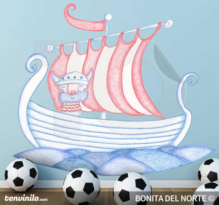 TenVinilo. Vinilo infantil barco vikingo. Espectacular pegatina de una galera escandinava capitaneada por un valiente guerrero. Dibujo de Bonita del Norte.