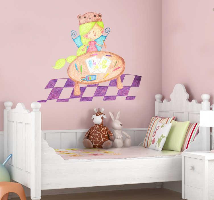 TenStickers. Sticker enfant retour de l'école. Dessin en stickers réalisé par Bonita Del Norte illustrant une fillette faisant des jeux de coloriage et ses devoirs sur une grande table.