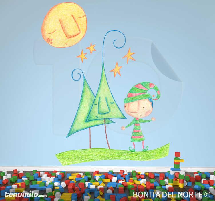 TenStickers. Adesivo bambini folletto natalizio. Sticker decorativo basato sull'originale disegno a pastello di Bonita del Norte.