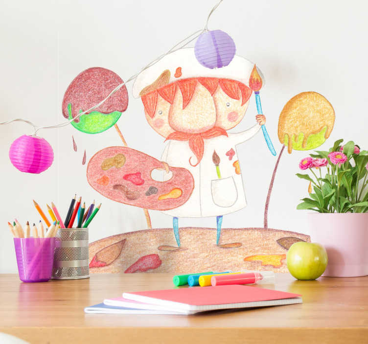 TenStickers. Messy Artist Kids Sticker. A kids wall sticker with a beautiful illustration of an artist at work. Design by Bonita Del Norte exclusively for Tenstickers.