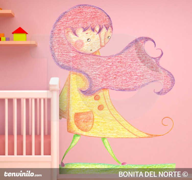 TenStickers. Kinderen meisje herfst sticker. Je ziet een meisje met een regenjas aan en lange roze harenª Haar haren waaien weg door de herfstwind!