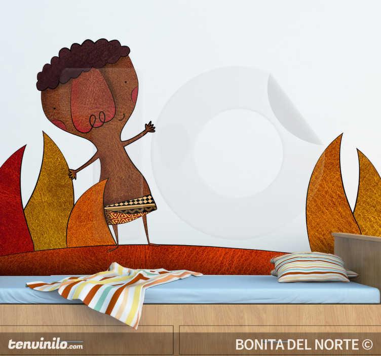 TenStickers. стикер иллюстрации африканского мальчика. рисунок, сделанный вручную иллюстратором Бонита дель Норте, приветствующего нас из саванны.