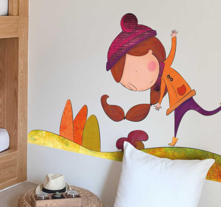 TenStickers. Wandtattoo Mädchen im Herbst. Mit diesem Wandtattoo wird das Kinderzimmer einzigartig Es zeigt ein kleines Mädchen, dass fröhlich an einem schönen Herbsttag spielt.