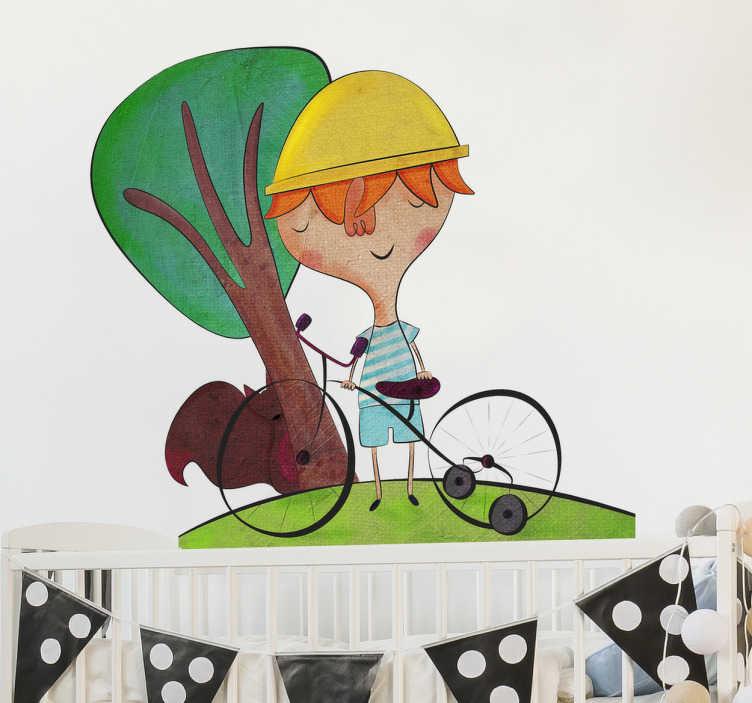 TenVinilo. Vinilo niño paseando en bici. Original ilustración en adhesivo de Bonita del Norte de un aventurero chiquillo en su bicicleta de cuatro ruedas.