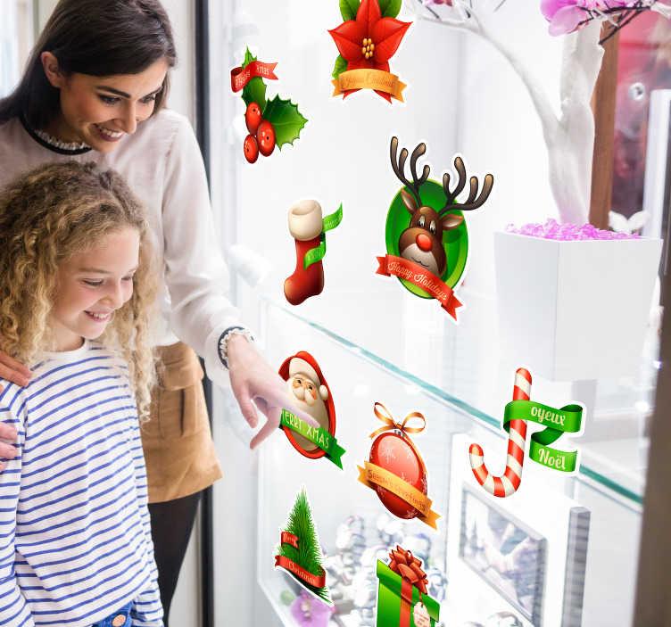 TenStickers. Sticker Set Weihnachten 3D. Sticker Set zu Weihnachten mit verschiedenen Weihnachtsmotiven. Weihnachtsmann,Geschenke, Stiefel und vieles mehr!