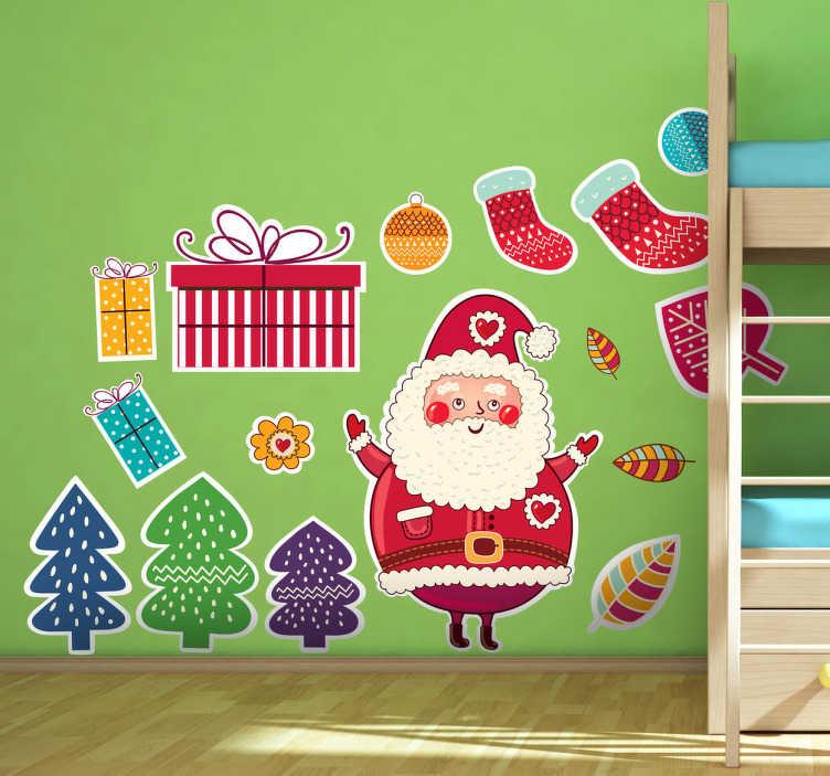 TenStickers. Naklejka dekoracyjna prezenty świąteczne. Zbiór naklejek zawierających elementy świąteczne takie jak choinki, prezenty, skarpety na podarunki, święty Mikołaj itp.