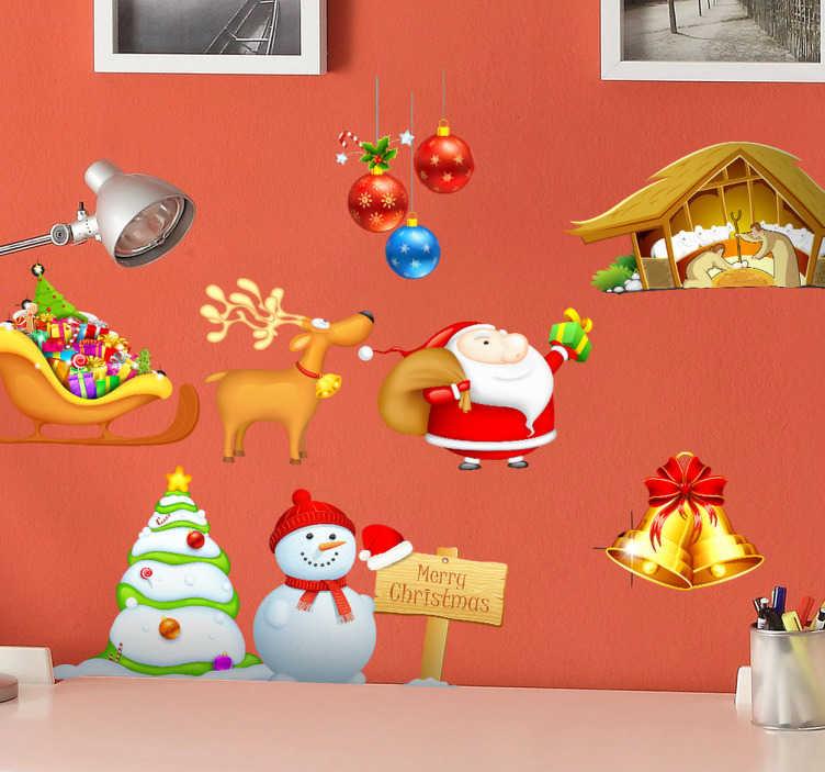 TenStickers. Autocollant kit fête de Noël. Ensemble de stickers décoratifs représentant des  éléments caractéristiques de Noël : crèche, renne, bonhomme de neige...Adhésif applicable aussi bien dans un salon ou sur une vitrine de magasin à l'approche de la fête de Noël.