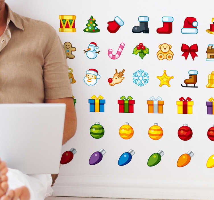 TenStickers. Christmas Icon Sticker Set. A sticker set of cute Christmas icons to decorate your walls or accessories in a festive way.