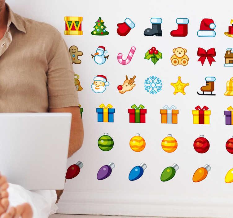 TenStickers. Naklejki świąteczne ikony. Naklejka dekoracyjna przedstawiająca zestaw różnych ikon w tematyce Świąt Bożegonarodzenia: renifery, prezenty, dekoracje choinkowe i wiele innych.