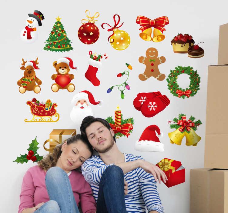 Sticker decorativo objetos de navidad