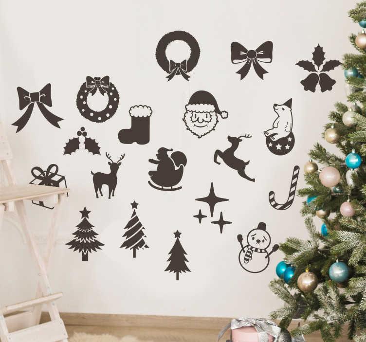 TenStickers. Autocollant pictos monochrome Noël. Stickers représentant un ensemble de pictogrammes monochromes caractéristiques de la fête de Noël.Stickers applicable aussi bien dans un salon ou sur une vitrine de magasin à l'approche de Noël.