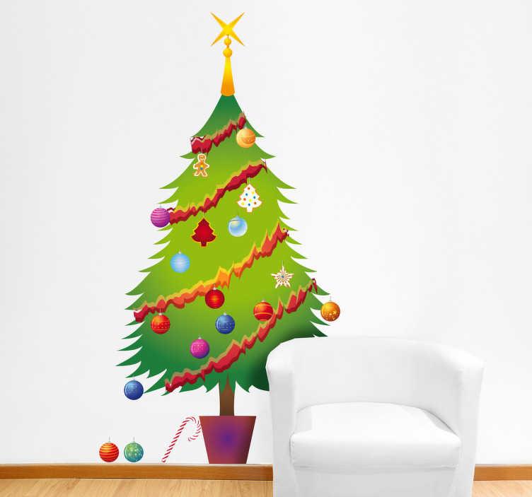 TENSTICKERS. クリスマスツリーお祝いデカール. クリスマスツリー壁ステッカー - この装飾的なクリスマスデカールは、カラフルなボールと花輪で飾られたクリスマスツリーを示しています。
