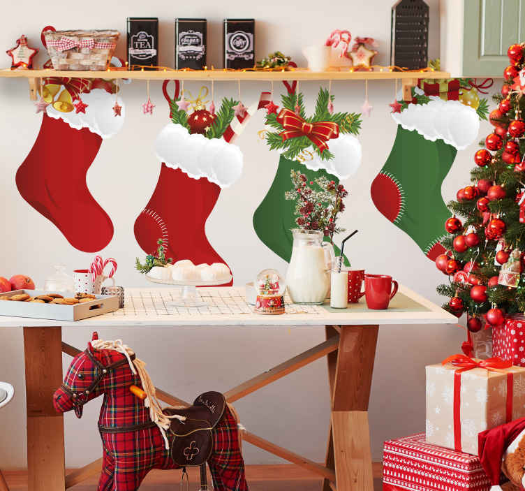 TenStickers. Christmas Stockings Sticker. A great Christmas wall sticker illustrating red and green Christmas stocking to decorate any space at home during this festive season Brilliant festive decal that will create that magical atmosphere during Christmas! Perfect to decorate your home if there will be a gathering at home
