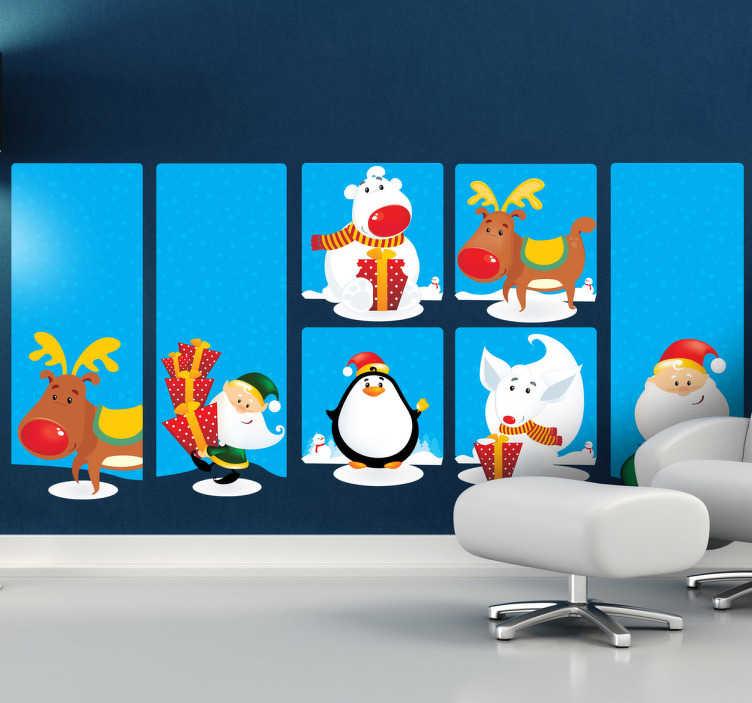 TenStickers. Sticker dessins noël. Stickers applicable aussi bien dans un salon, une chambre, ou sur une vitrine de magasin à l'approche de la fête de Noël.