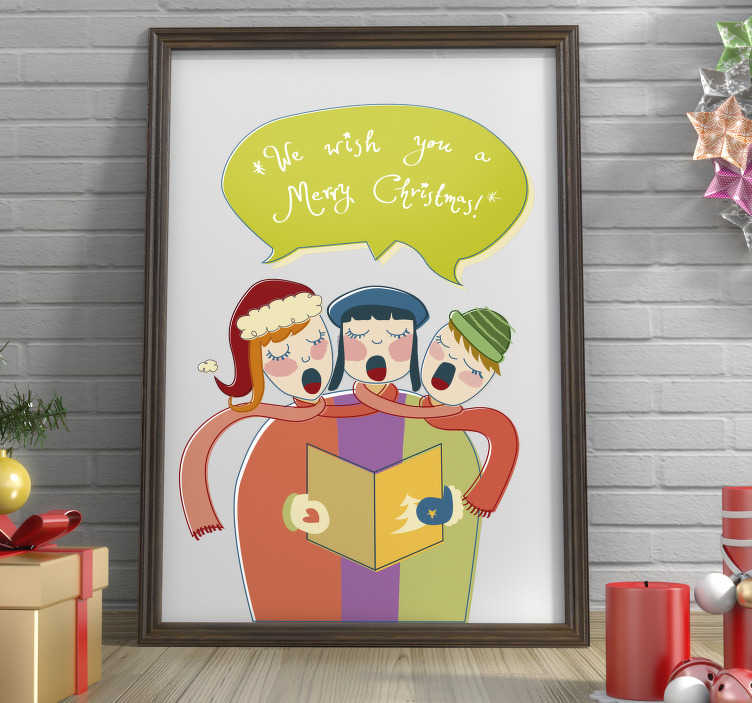 """TenStickers. Sticker chorale trio. Stickers mural illustrant un chœur de trois personne chantant  """"we wish you a merry christmas"""".Autocollant applicable aussi bien dans un salon ou sur une vitrine de magasin durant la période de Noël."""