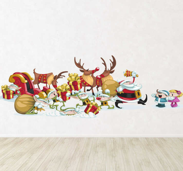 TenStickers. Santa Claus is Here Christmas Decal. Are you not sure how to decorate your home this Christmas? Customise your home with this wall sticker of Santa Claus.
