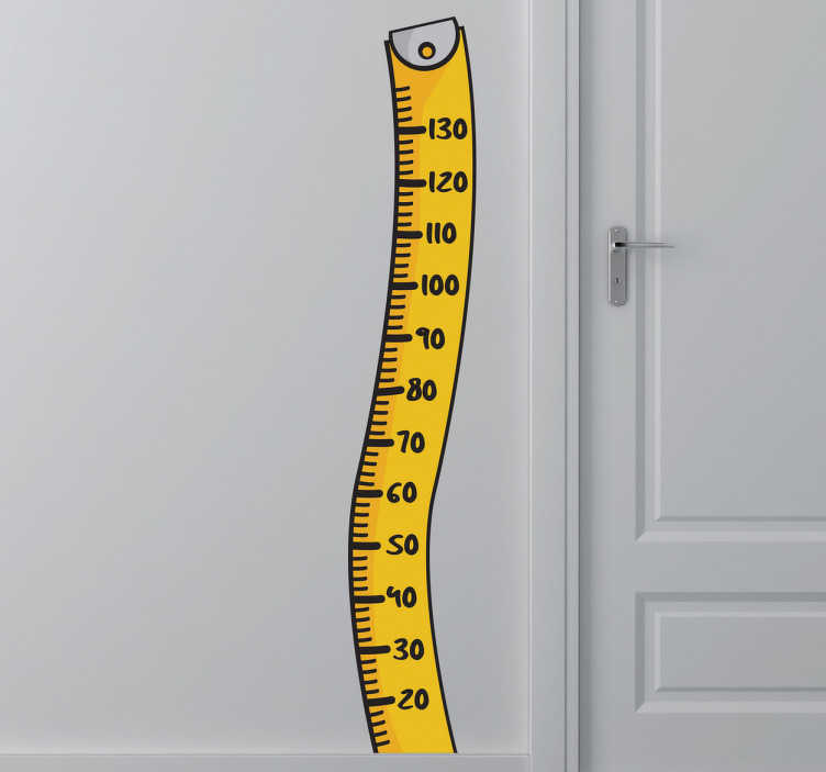 TenStickers. Naklejka na ścianę centymetr krawiecki. Naklejka na ścianę miarka, dzięki której możesz obserwować wzrost Twoich dzieci.
