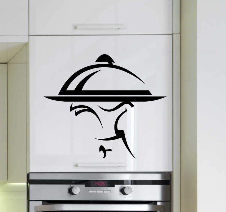 TENSTICKERS. ウェイターとトレイのキッチンウォールステッカー. キッチンとレストランのステッカー - あなたの台所の壁や食器棚には、この素晴らしいデザインのウェイターの手でトレイを飾ってください。