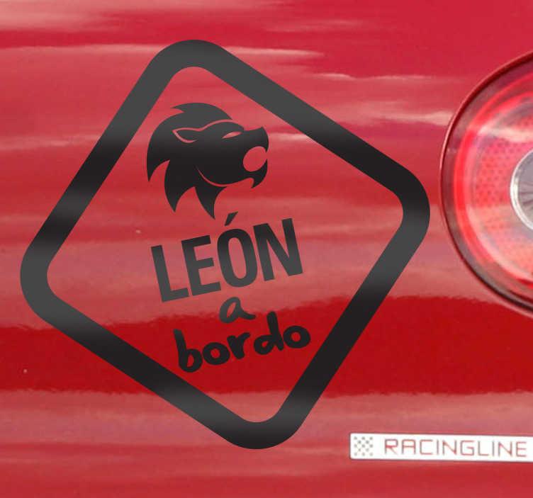 TenVinilo. Adhesivo decorativo león a bordo. Vinilo para decorar el automóvil de los verdaderos aficionados al Athletic de Bilbao.