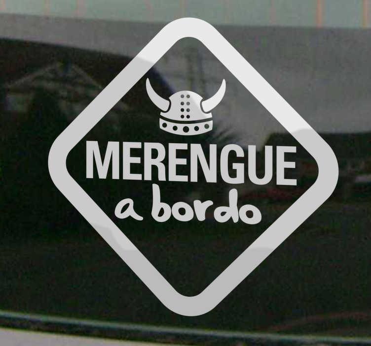 TenVinilo. Adhesivo decorativo merengue a bordo. Vinilo de coche para los aficionados al Real Madrid. Si el pequeño de la casa es un verdadero merengue este vinilo quedará perfecto.