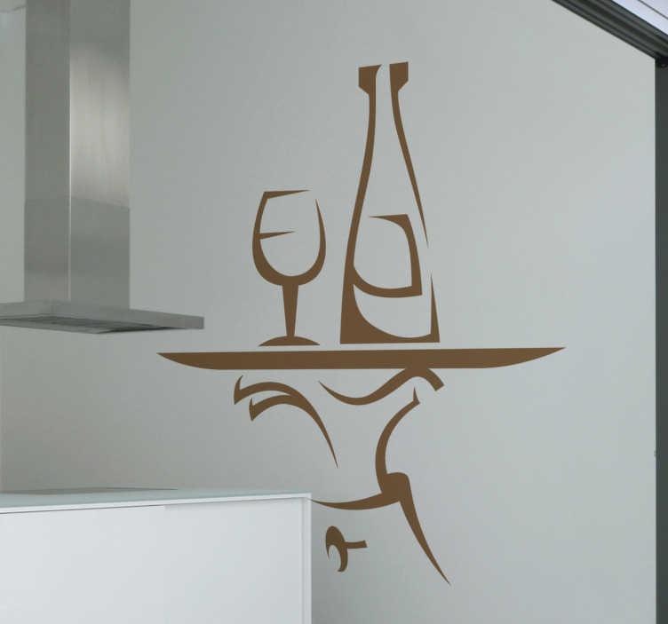 TENSTICKERS. ウェイタートレイの壁のステッカー. キッチンウォールステッカー - あなたのキッチンキャビネット、壁や家具を、ガラスとワインのボトルをトレイに置いた楽しい元のステッカーで飾ってください。