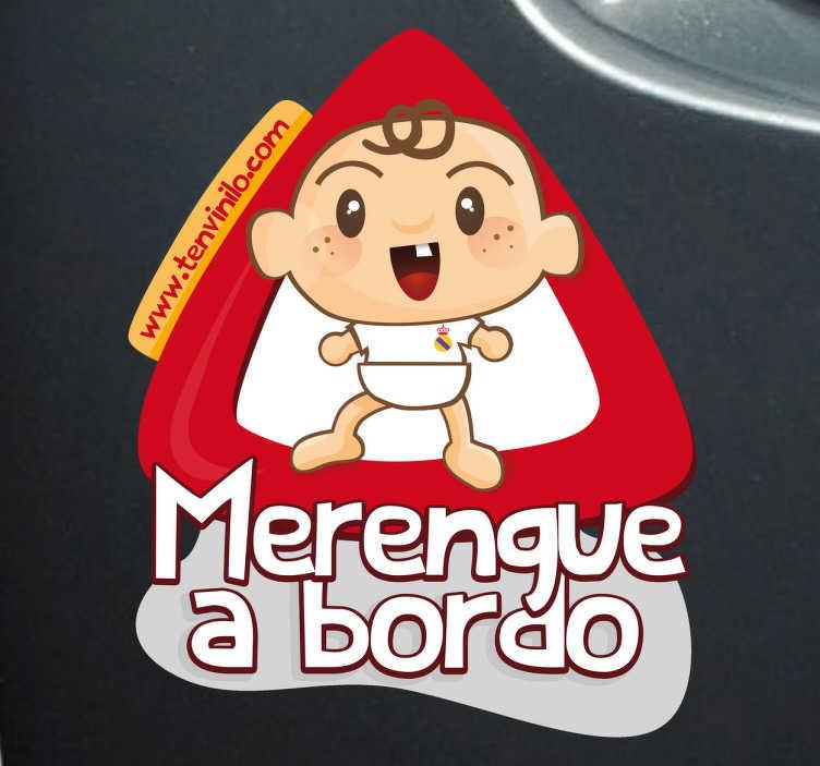 TenVinilo. Vinilo coche merengue a bordo. Original pegatina de un bebé aficionado al Real Madrid, para advertir al resto de conductores de qué equipo es la familia.