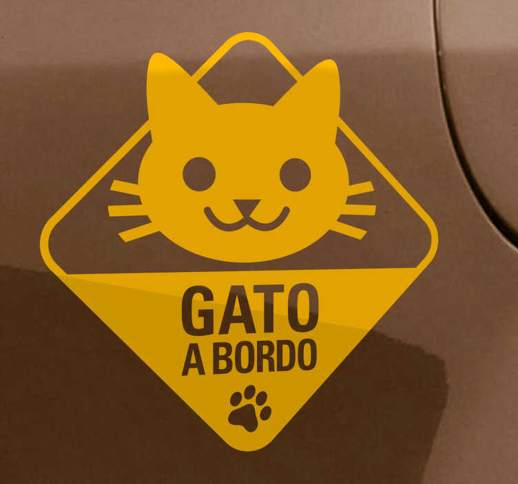 TenStickers. Autocolante decorativo gato a bordo. Autocolante decorativo sinalizando que possui um gato a bordo do seu carro, que permite decorar o seu veículo e comunicar com outros condutores.
