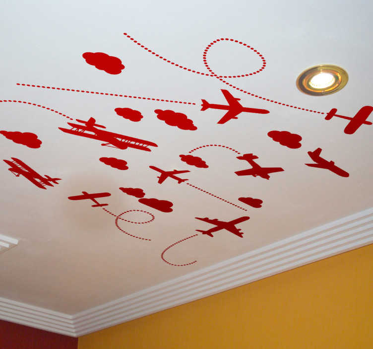 TenStickers. Kids Ceiling Planes Decal. Kids Wall Stickers - Create the vision of aircrafts in the sky with this illustration designed for the ceiling.