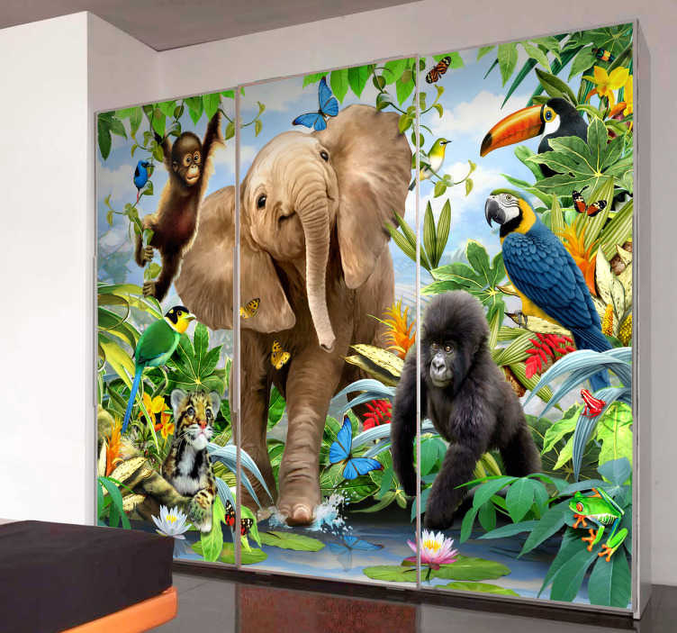 TenStickers. Jungle Wall Mural. Open a window on your wall that will take you to a jungle populated with many exotic animals from our collection of jungle wall stickers.