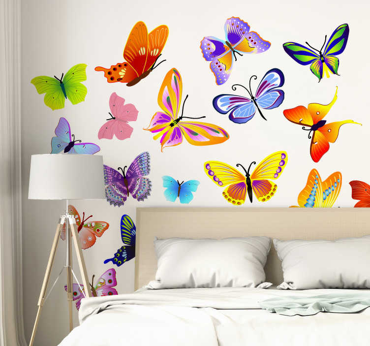 TenStickers. Colourful Butterflies Wall Sticker. Colourful set of butterfly decals to decorate any space at home. Decorate your living room or bedroom and obtain that fresh atmosphere at home.