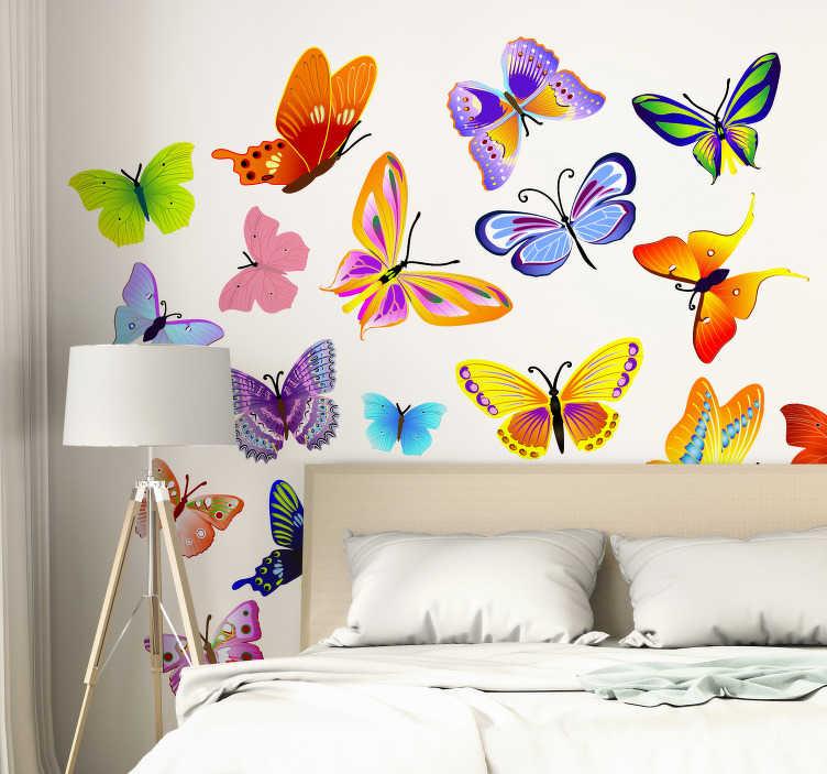 TenStickers. Sticker papillons multicolores. Stickers pour enfant illustrant un ensemble de papillons. Super idée déco pour la chambre d'enfant et tout autre espace de jeux.