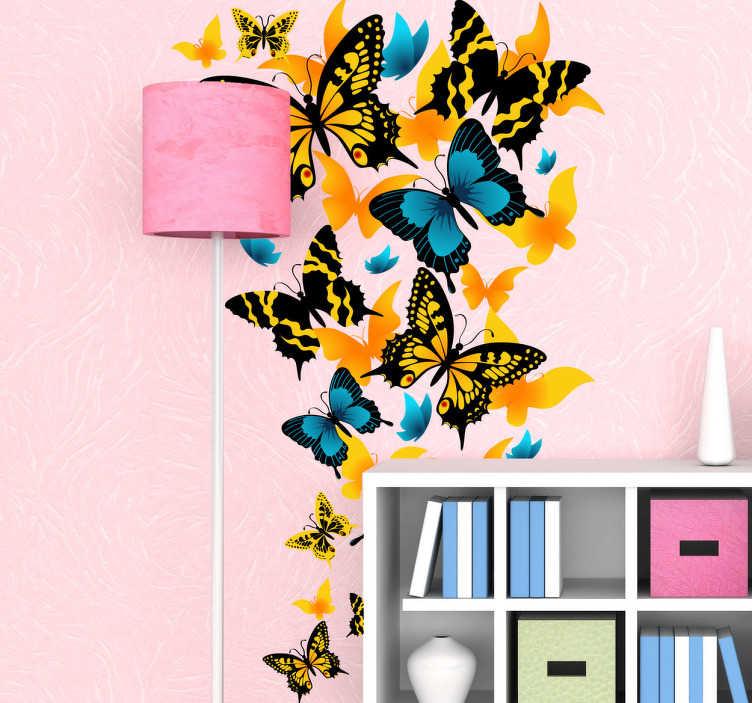 Sticker vlinders blauw geel