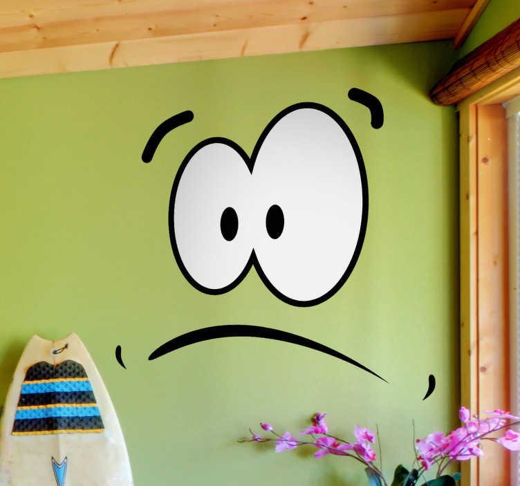 TenStickers. Erstauntes Gesicht Aufkleber. Wandtattoo für das Wohnzimmer. Mit diesem erstaunten Gesicht als Sticker können Sie Ihrer Wand Ausdruck verleihen.