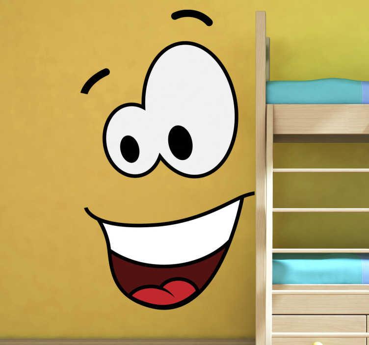 TenStickers. 幸福的脸墙贴纸. 这个有趣而俏皮的设计让你的墙变得生动。我们收集的搞笑墙贴的原始笑脸墙贴纸!一个笑脸漫画风格的角色来装饰你的墙壁或任何其他光滑的表面,如你的笔记本电脑!