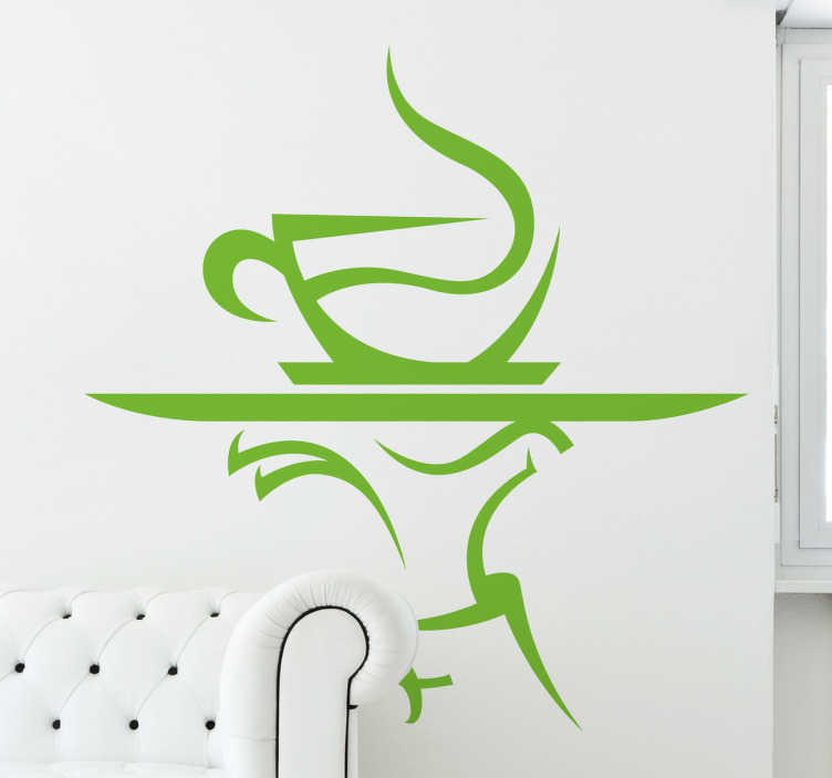 TenStickers. Coffee Kitchen Wall Sticker. A steaming cup of coffee being served on a tray. Brilliant coffee wall art decal to decorate your coffee shop or your kitchen.