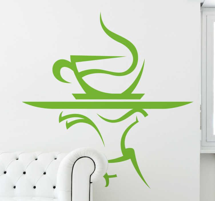 TenVinilo. Vinilo decorativo camarero café. Decora tu cocina con un adhesivo divertido y original con una taza de café humeante sobre una bandeja.