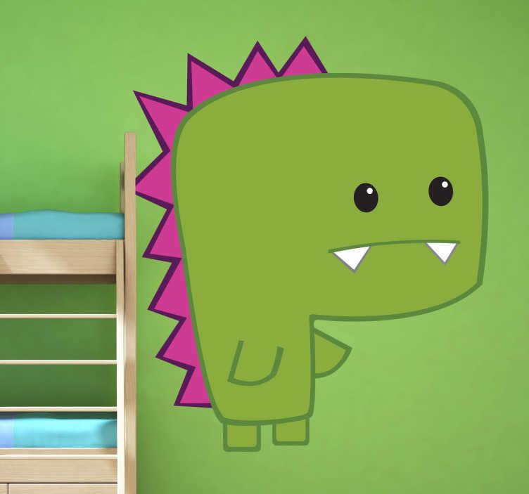 TenStickers. Naklejka dla dzieci Dino. Zabawna naklejka na ścianę przedstawiająca młodego, zielonego dinozaura z dwoma wystającymi kłami.