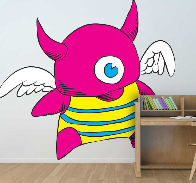 TenStickers. Horned Monster Sticker. Fun sticker of a bright one-eyed monster with horns and wings wearing a yellow swimsuit with blue stripes.