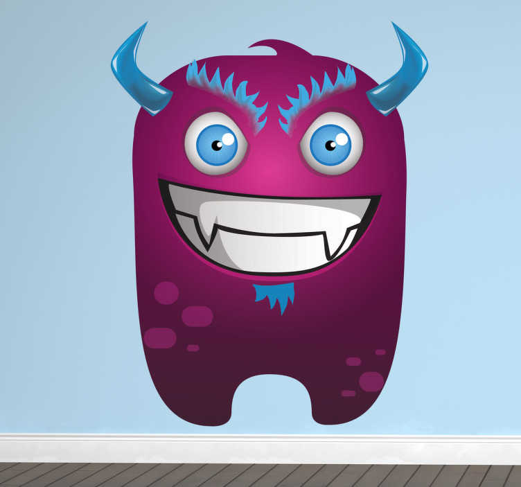 TenStickers. Malicious Purple Monster Kids Sticker. A design for kids illustrating a malicious purple monster with blue eyes, horns and hair. Monster decal from our collection of purple wall stickers.