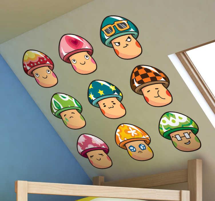 TenStickers. Naklejka zbiór grzybów. Kolekcja naklejek dekoracyjnych przedstawiająca kolorowe pieczarki z różnokolorowymi kapeluszami i strojące różne miny.