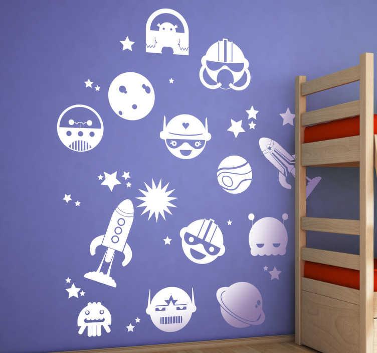 TenVinilo. Sticker varios elementos del espacio. Fantástica colección de pegatinas con cohetes, estrellas, planetas, astronautas y extraterrestres.*Las medidas indicadas son sobre el conjunto de diseños.