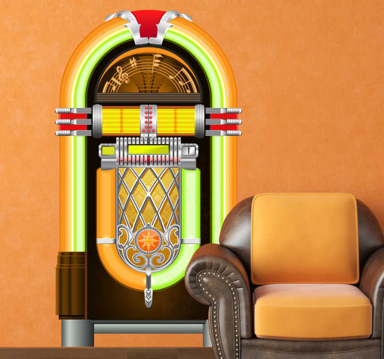 TenStickers. Jukebox Vintage Wall Sticker. Jukebox wall sticker from our retro wall stickers collection to decorate your living room and relive the 80s. This vintage decal is ideal for music lovers or for those that love vintage items.