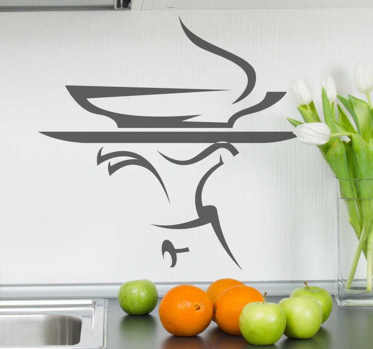 TenStickers. Stencil muro vassoio cameriere. Decora le pareti, le ante o gli elettrodomestici della tua cucina con questo adesivo che raffigura una mano che regge un vassoio con minestra calda.