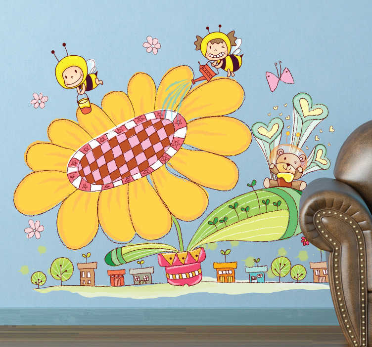 TenStickers. Adesivo cameretta città delle api. Sticker decorativo che raffigura un'enorme margherita di cui si stanno prendendo cura due simpatiche api operaie. Un'ondata di colore per decorare la camera dei bambini.