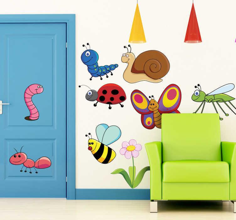 TenStickers. 친화적 인 곤충 벽 스티커. 아이들의 동물성 벽 스티커 - 달팽이, 벌레, 꿀벌, 나비 같은 곤충들의 세트를 보여줍니다. 당신의 작은 것들을위한 화려한 곤충 전사.