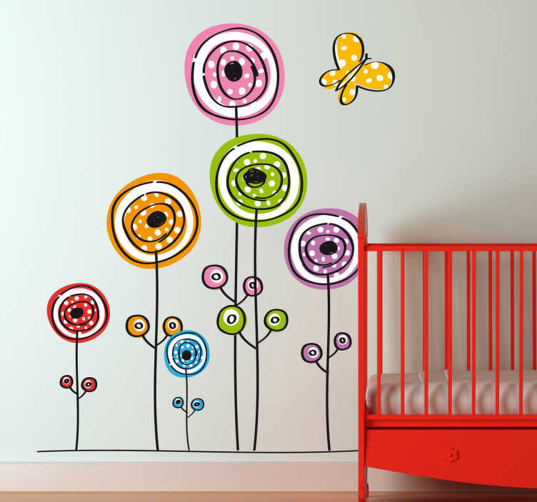 TenStickers. Kids Abstract Flowers and Butterfly Wall Decal. Colourful and playful kids wall sticker of flowers and a butterfly ideal for decorating a child's bedroom, nursery and play areas. This flower wall sticker is perfect for bringing a touch of colour and nature to your child's life and your home decor is general.