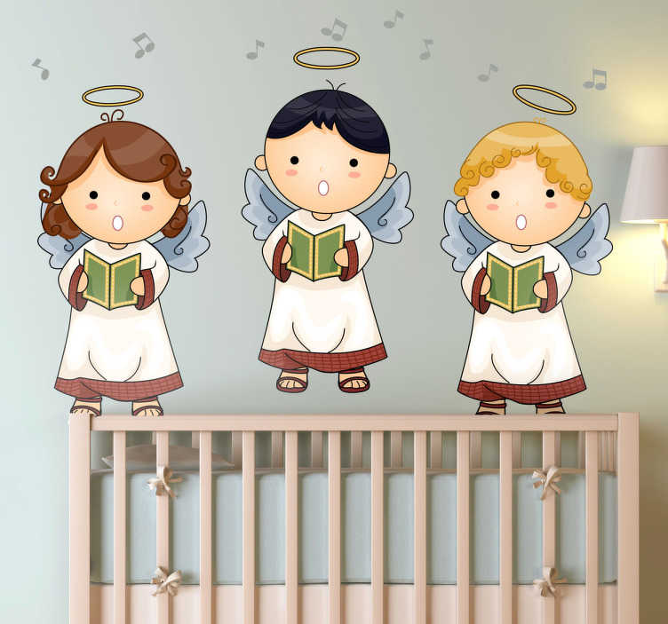 TenStickers. Sticker kind engeltjes. Deze sticker omtrent drie engeltjes die zingen in de sterrenhemel. Met hun vriendelijke vorm is deze ideaal voor kinderen.