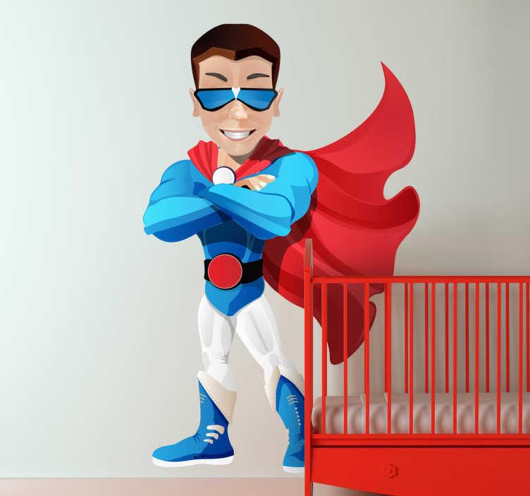 TenStickers. Naklejka dziecięca superman z peleryną. Naklejka dekoracyjna przedstawiająca kreskówkowego superbohatera z czerwoną peleryną.